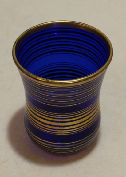 Cobalt glass tumbler with gold decoration