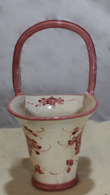 Hand painted Italian pottery basket