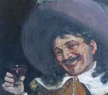 John Pettie Oil on Canvas showing Drinking Cavalier detail