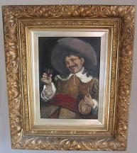 John Pettie Oil on Canvas showing Drinking Cavalier