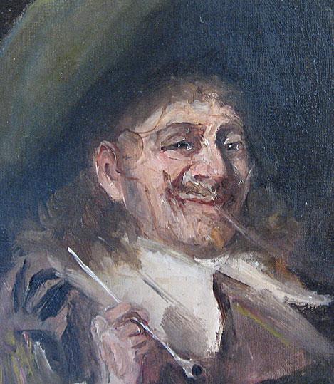 John Pettie Oil on Canvas showing smoking Cavalier detail