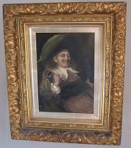 John Pettie Oil on Canvas showing smoking Cavalier