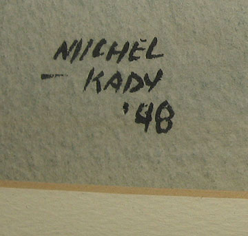 Watercolor signed Michel Kady, signature photo