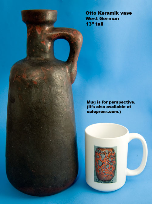 Otto Keramik Tall Jug with Red and Black Glaze