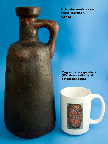 Otto Keramik Tall Jug, black and red glaze