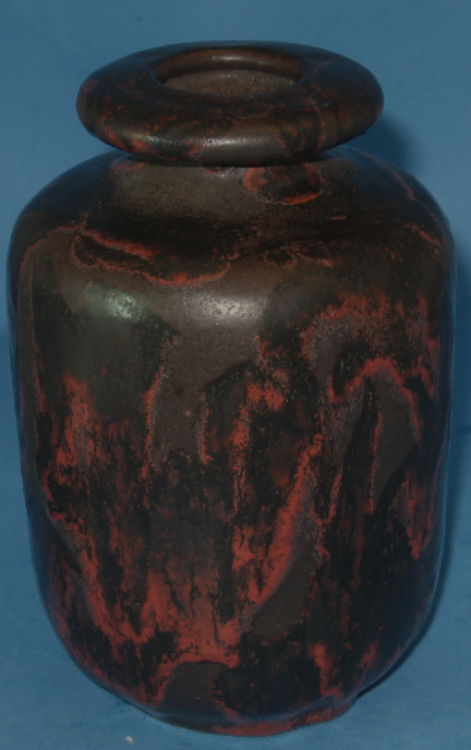 Otto Keramik Small Vase, Red and Black Glaze