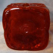 Large Ruby Glass Bottle, bottom photo