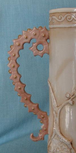 Royal Rudolstadt, Lazarus Straus vase, handle detail