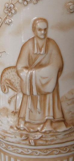 Royal Rudolstadt, Lazarus Straus vase detail