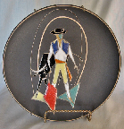 Ruscha plate with Torero decor, mark photo, West German Pottery