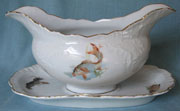 Porcelain sauce, gravy boat from fish set