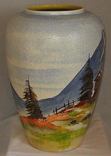 Scheurich Keramik Floor Vase, handpainted scene