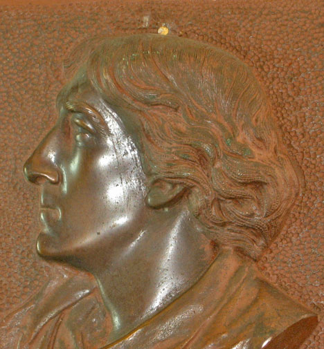 Bronze plaque with Henry Irving, detail