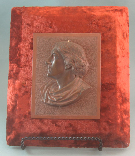 Bronze plaque with Henry Irving