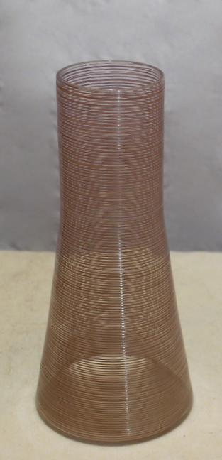 Clear glass vase, enamel threading