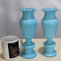 Victorian Blue Glass Vases