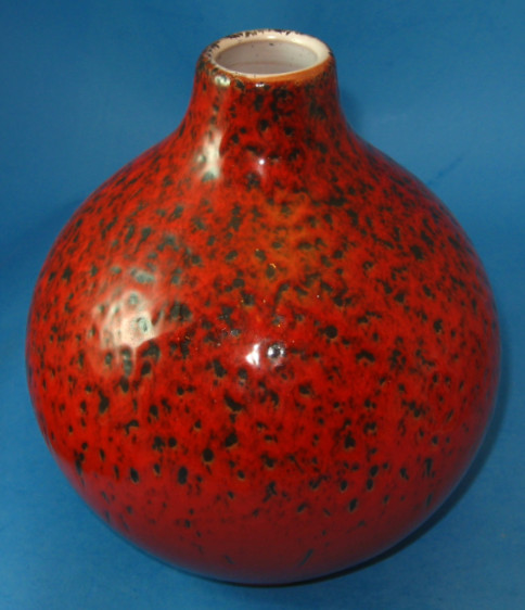 Waechtersbach Vase with Red over Black Volcanic Glaze