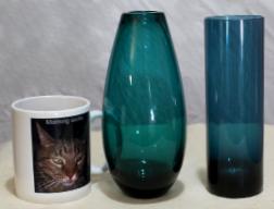 Wilhelm Wagenfeld glass vase and unknown glass vase
